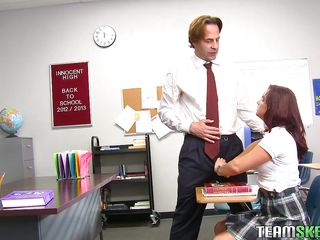 redhead babe in arms getting naughty at the school