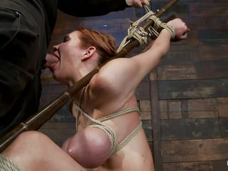 tied bitch possessions her pretty mouth stuffed with cock