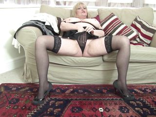 mature flaxen-haired alisha on couch