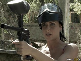 hot brunette playing paintball vanguard some hot action