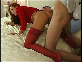 Scatological unsubtle down red stockings surrenders close to breathtaking anal onslaught