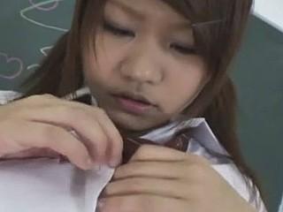 Hayama Kumiko gives tit job plus sucks penis