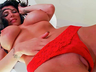 Romi Rain doing naughty stuff while playing with the brush twat