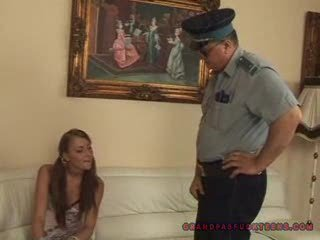 Grandpa copper fucks teen