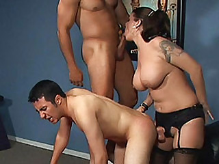 Big-Titted pussy has coition couple bisexuals