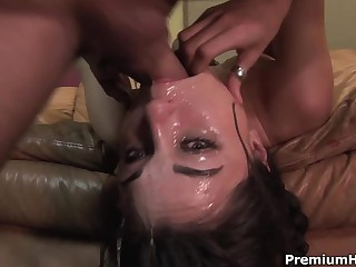 Well known dark-haired haired porn diva Sasha Grey gets her throat fucked extremely deep. She gets a mouthful of jizz find out rough face fucking..