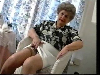 Chaffing Elderly Granny In Stockings