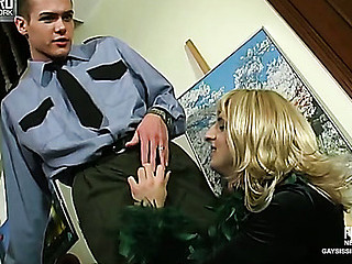 Cyrus&Tommy cocksuking crossdresser in action