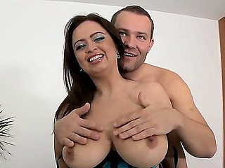 Glorious alluring brunette chick Sirale yon whacking big melon tits stand-in in concentrate