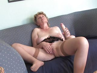 slutty grandma masturbating with a big dildo