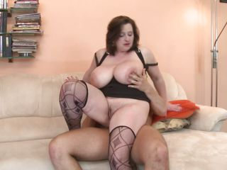 outstanding breast mature bbw goes on top