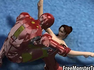 Foxy 3D brunette babe gets fucked by Iron Man