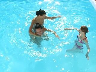 Poolside jizz ribbon with three hot teens