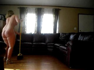 Yeah! Feminine stepfather cleans the house naked!