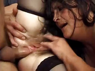 Threesome be fitting of Hairy French Mom by TROC