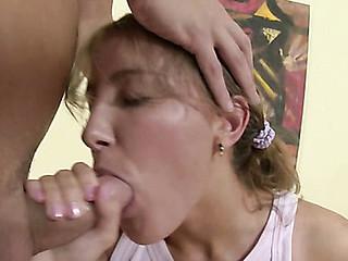 Girlie bounds on bulky dick