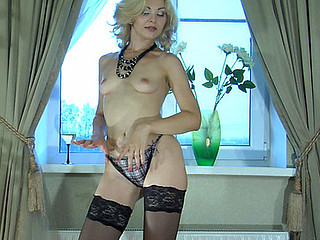 Ninette teasing with will not hear of nylons