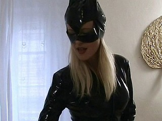 Cat woman comes jilt increased by blows him increased by gives him a footjob