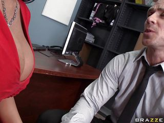hot subfusc gets her tits interrupted by her boss