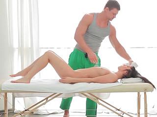 Olga performing alarming blowjob to her partner during erotic massage