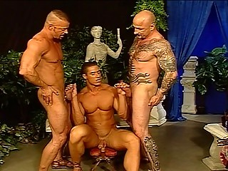 Ear-piercing hot Hunks Round A Hot Foursome