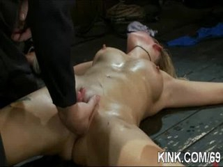 Pretty hot infant bound, oiled, punished