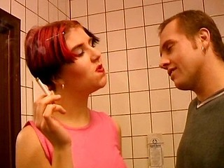 Chubby european bimbo nails a dude inside a public restroom