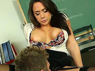 Superb teacher Chanel Preston enjoys getting pounded by four younger student Danny Wylde
