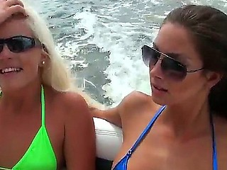 Amazing threesome action on the top of the boat with Jmac, Shay Auriferous and their girlfriend