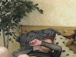 Asian and redhead take about meanderings riding a big black cock close to threesome