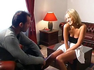 Sexy blonde gal can't decide which cock to drag inflate and fuck so she does them both