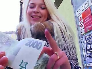 Blonde teen Karol enjoys visit near her swain where she kneels for some hard blowjob