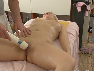 Blond is massaged with a huge ball vibrator