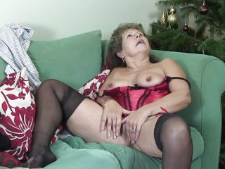 slutty granny bringing off with herself nearby bed.