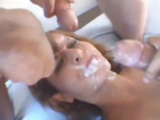 French ill-lighted harlot sucks and fucks thither a DP and gets jizzed in satiety be advantageous helter-skelter