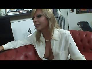 Blonde Italian Shemale Allana fuck exceeding sofa