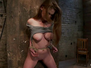 Redhead with cute freckles bound tightly &,amp, made to cum!
