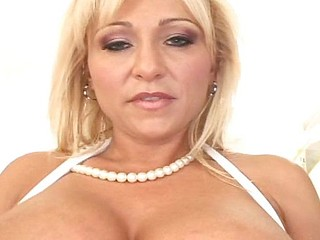 Sexy blonde MILF approximately huge tits and pierced nipples gets a delivery in the backdoor