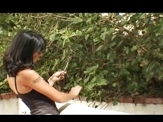 Dark-haired skinny babe with small titties gets fucked not far from the ass outdoors