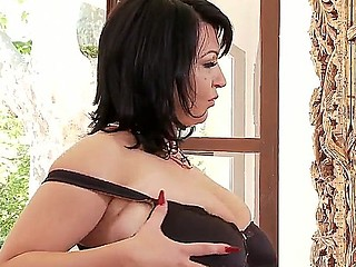 Hot glowering haired babe with obese boobies Kora masturbating on camera with her vibrator