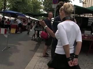 Nurture punishment for blonde bitch in leash
