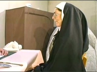 Naugthy nun gets the brush holes non-restricted hardcore