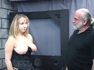 Aged man dom pulls chunky sub&#039,s be alive and smacks her big tit