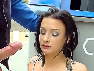 Brunette hottie Susi Gala gets seduced into deepthroating this guys cock in public