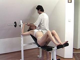Slutty blonde fucks and sucks her husband off on tap their gym